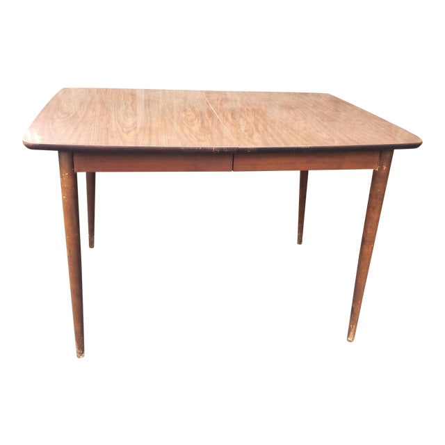 mid century expandable walnut dining table chairish. Black Bedroom Furniture Sets. Home Design Ideas