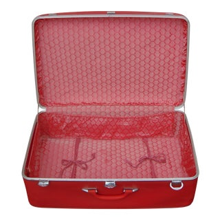 Amelia Earhart Red Suitcase With Pink Interior