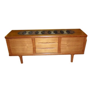 Danish Mid Century Modern Teak Credenza Buffet With Tile Top