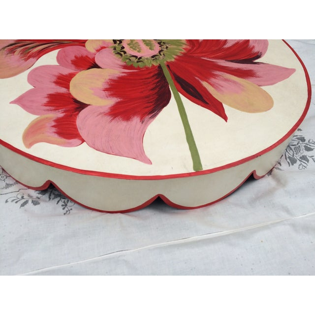 Metal Floral Painted Side Table Covers - A Pair - Image 5 of 10