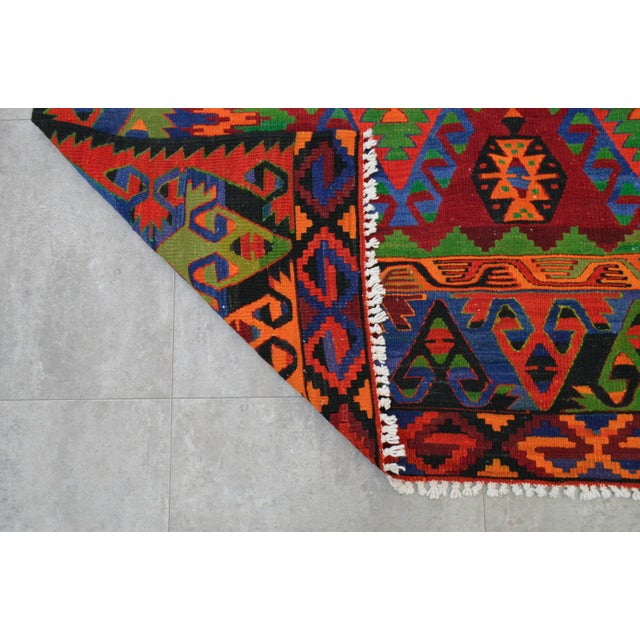 Turkish Kilim Hand Woven Wool Area Rug - 5′8″ X 9′4″ - Image 8 of 9