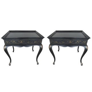 Carlin Hand-Painted Side Tables - A Pair