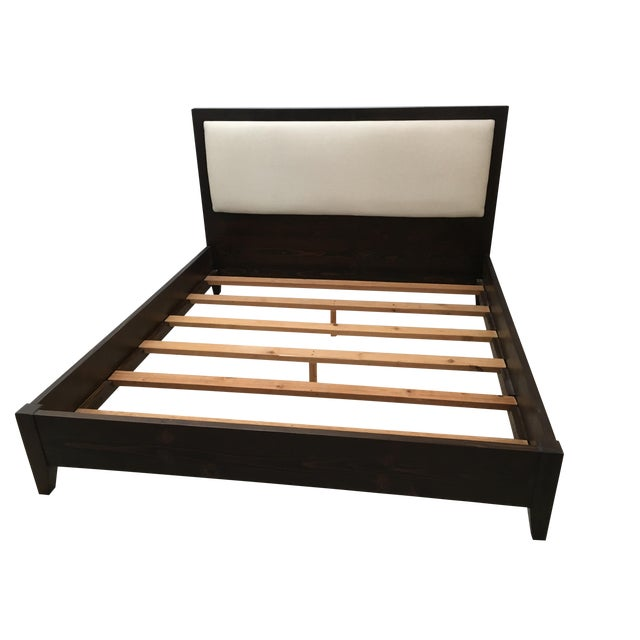 Solid Dark Wood & Ivory Upholstered King Bedframe - Image 1 of 8