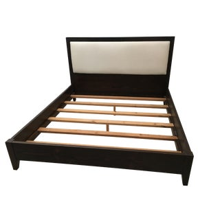 Solid Dark Wood & Ivory Upholstered King Bedframe