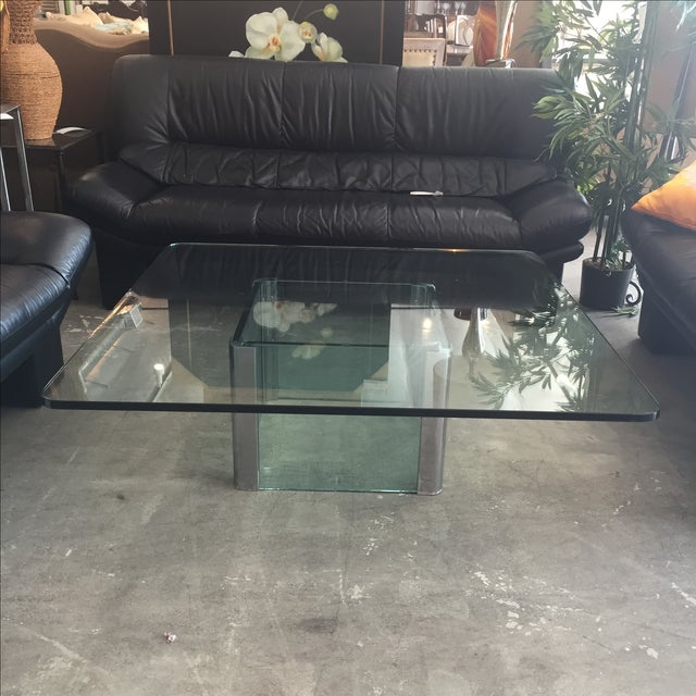 Modern Glass & Chrome Coffee Table - Image 3 of 9