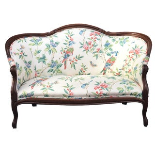 Floral & Bird Design Victorian French Settee