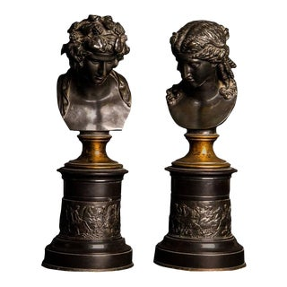 Large Pair Bronze Grand Tour Library Busts of Bacchus and Ariadne, 19th Century