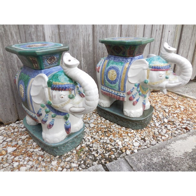Image of Vintage Elephant Garden Stool - Pair