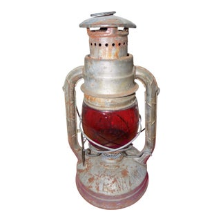 Industrial Ruby-Red Globe Deitz Railroad Lantern