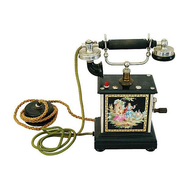 Image of Antique French Hand-Painted Crank Handled Telephone