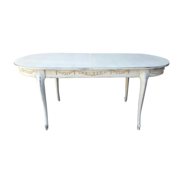 French country painted white dining table chairish for White painted dining table