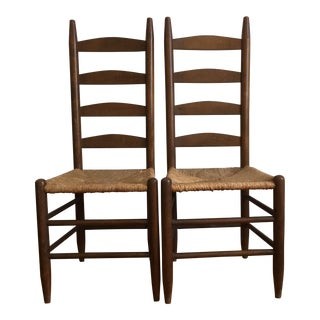 Vintage Rush Seat & Ladder Back Chairs - A Pair