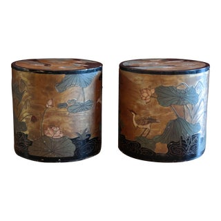 Asian Hand Painted Side Tables - A Pair
