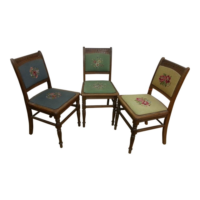 Needlepoint Prairie Dining Chairs - Set of 3 - Image 1 of 8