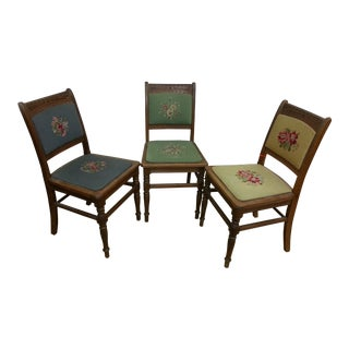 Needlepoint Prairie Dining Chairs - Set of 3