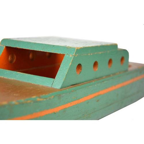 Vintage Green Wooden Toy Boat - Image 5 of 5