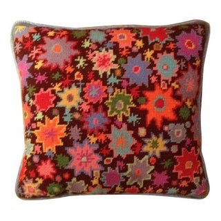Needlepoint Floral Throw Pillow II