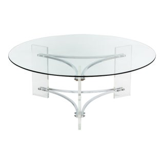 Charles Hollis Jones Style Modern Lucite & Chrome Coffee Table
