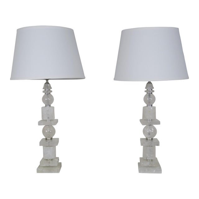 Pair of Sculptural Rock Crystal Quartz Lamps w/ Linen Shades - Image 1 of 10