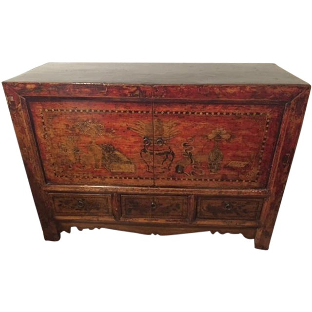 Image of Mongolian Hand-Painted Credenza