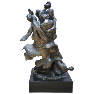 Mid-Century Bronze Figural Group Sculpture by Shaya