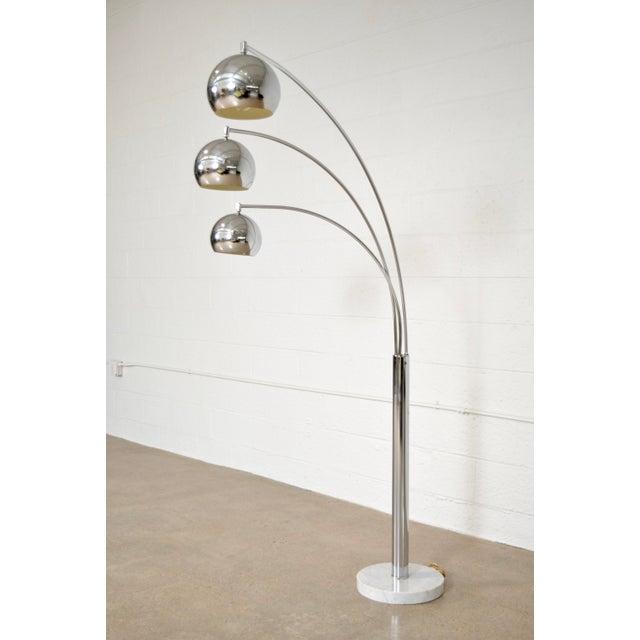 Mid Century Sonneman Style 3 Light Chrome Arc Floor Lamp