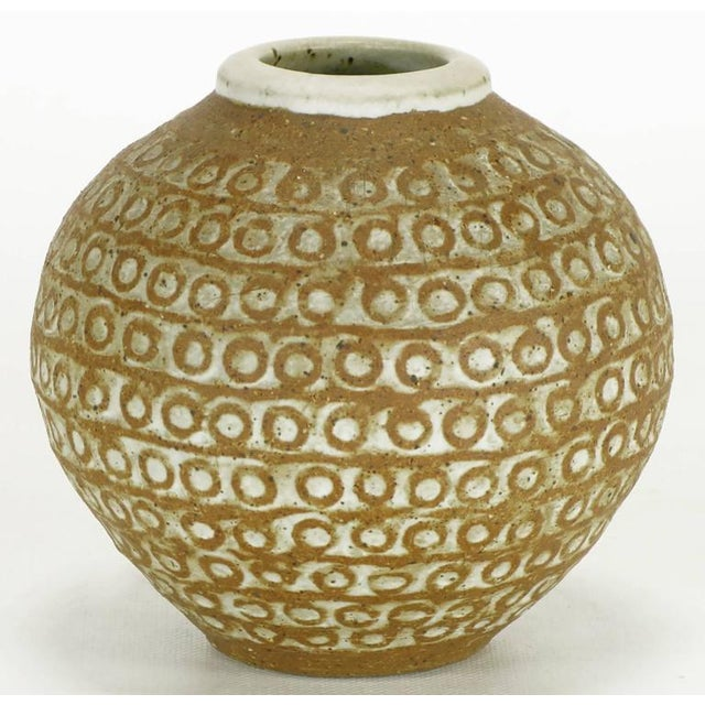 Relief Patterned Earthen Pottery Vase by Tomiya Matsuda - Image 3 of 7