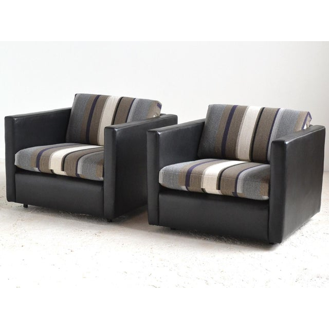 Image of Pair of Pfister Lounge Chairs by Knoll in Leather and Fabric