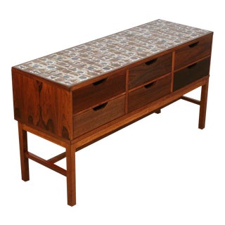 Vintage Danish Rosewood and Royal Cph Tile Chest of Drawers