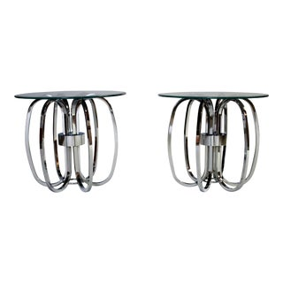 Milo Baughman Chrome Ring Glass Top Tables - A Pair