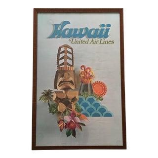 Vintage United Airlines Hawaii Framed Poster