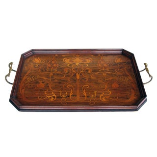 Finely Inlaid French Art Nouveau Rosewood Rectangular Tray with Canted Corners