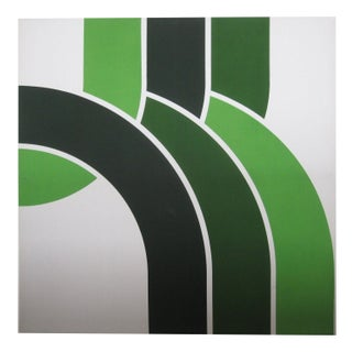 1970s Green Waterfall Graphic Serigraph