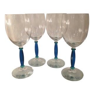 Salviati Blue Venetian Glass Wine Stems - Set of 4