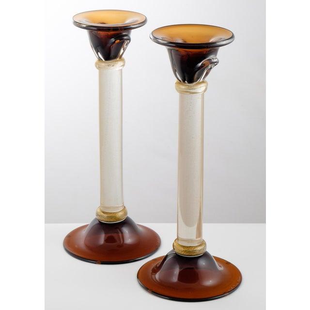Murano Amber & Avventurina Glass Candlesticks- A Pair - Image 3 of 10