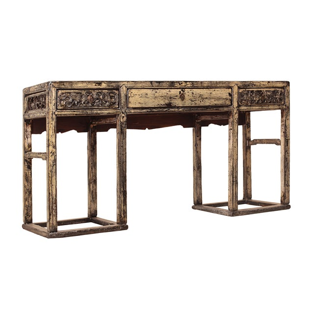 Chinese Yellow White Wood Altar Writing Desk - Image 2 of 5