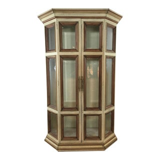 Painted Wood Glass Front Curio Display Cabinet
