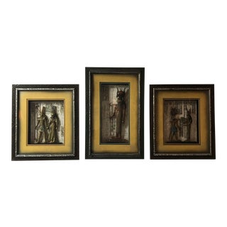 Égyptien Framed Carved Wood Decor - Set of 3