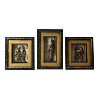 Égyptien Framed Carved Wood Decor - Set of 3