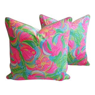 "24"" X 24"" Lilly Pulitzer-Inspired/Style Tropical Monkeys & Elephants Pillows - Pair"