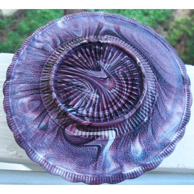 Image of Victorian 1890's Purple Malachite Slag Glass Dish