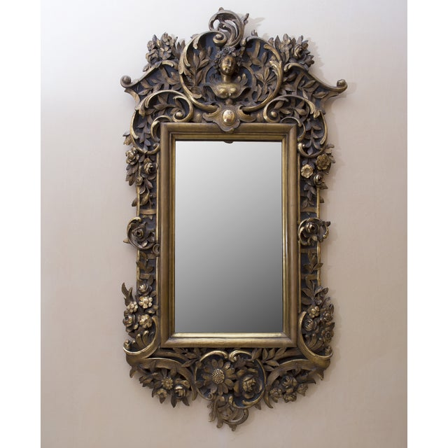 Carved Wood Mirror With Gilt Finish - Image 2 of 8