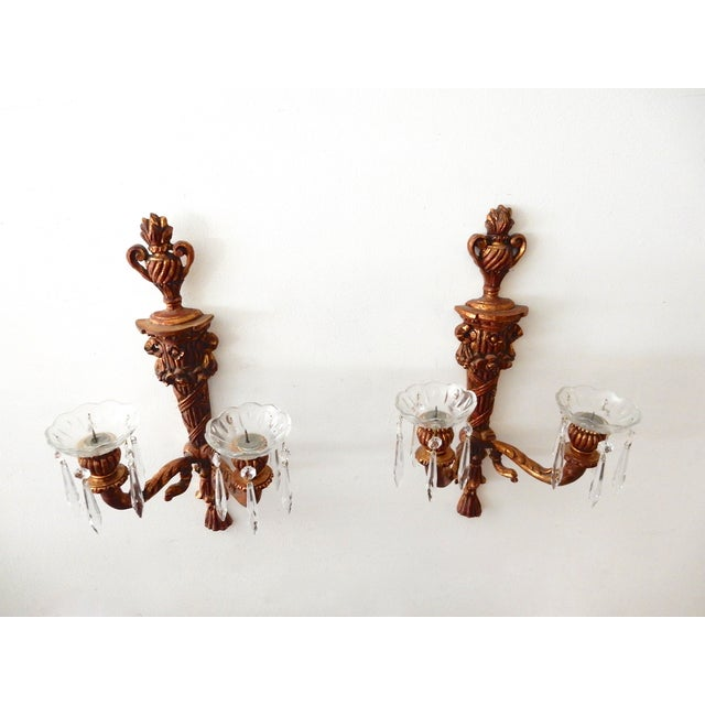 Image of French Wood Candle Holder Sconces - Pair