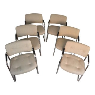 Set of 6 Steelcase Tubular Chrome Cantilevered Chairs With Original Fabric