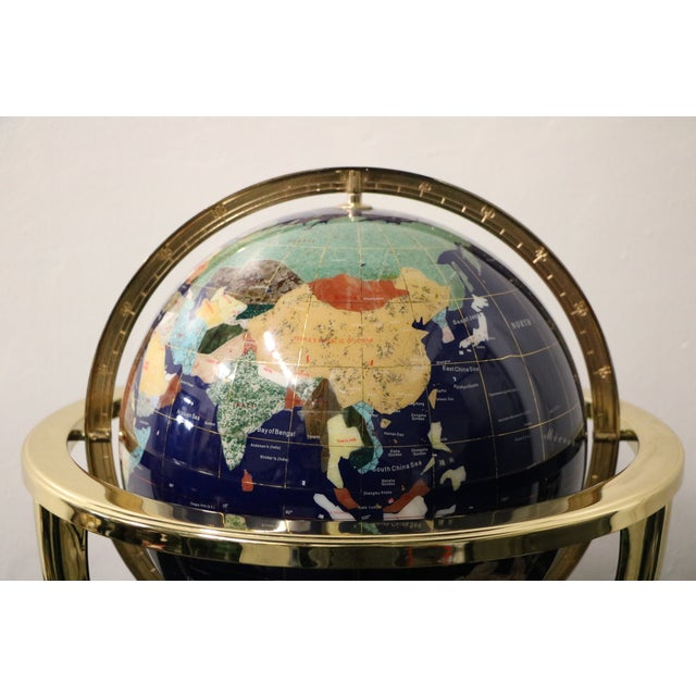 Image of Stone Globe & Compass on Brass Stand