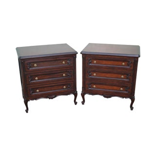 French Louis XV Style Mahogany Nightstands - A Pair