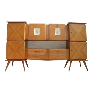 Piero Fornasetti Style Italian 1950's Oak Bar Credenza