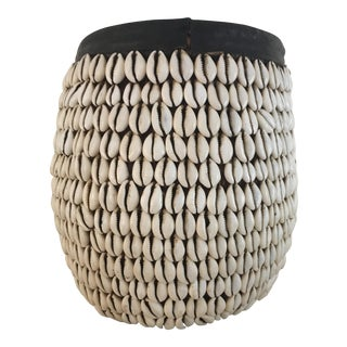 African Cowrie Shell Tribal Basket
