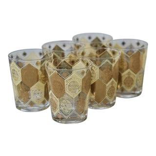 Mid-Century 22kt Gold Pineapple Motif Lowball Glasses - Set of 6