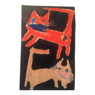 Small Vintage Cat Painting On Paper by Robert Cooke